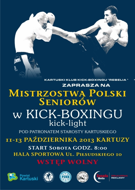 Plakat MP Kick Light Seniorów. Kartuzy, 11-13.10.2013